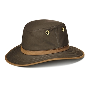 Image of Tilley Medium Curved Waxed Cotton Brim Hat - Olive with British Tan Trim