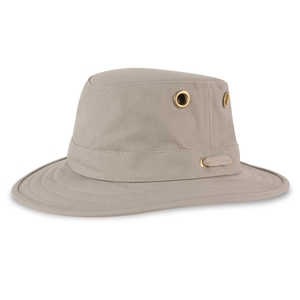 Image of Tilley Medium Curved Brim Cotton Duck Hat - Khaki With Olive Green Underbrim