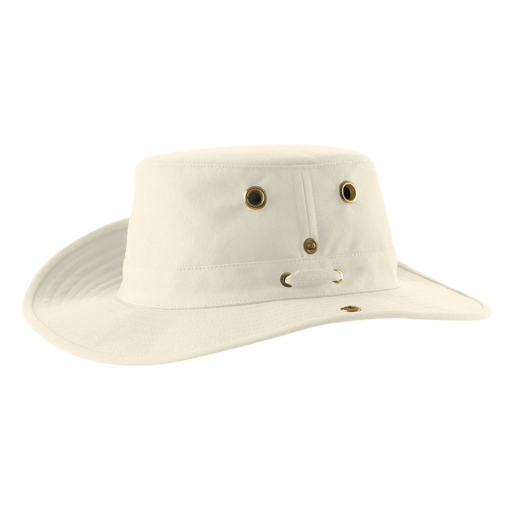 Image of Tilley Medium Brim Snap Up Hat - Natural With Forest Green  Underbrim 74b822db361f