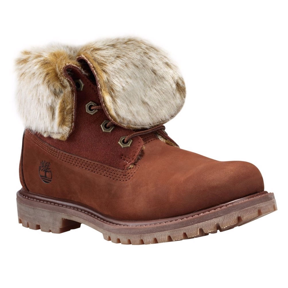 f13a37c6f657 Image of Timberland Authentics Faux Fur Fold Down Boots (Women s) - Medium  Brown Nubuck