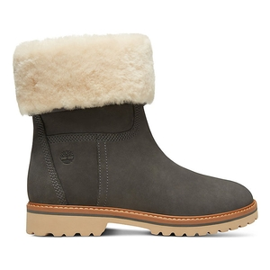 Image of Timberland Chamonix Valley Authentic Shearling Fold Down Waterproof Boot (Women's) - Medium Grey (Gargoyle) Nubuck