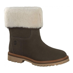 Image of Timberland Chamonix Valley Authentic Shearling Fold Down Waterproof Boot (Women's) - Olive (Canteen) Nubuck