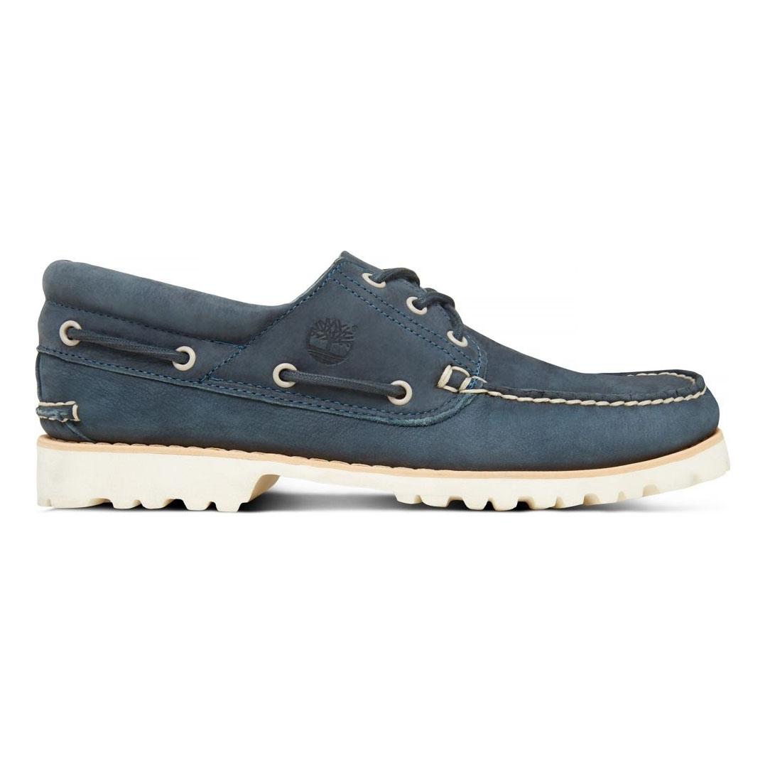 57b9ff646ebab Image of Timberland Chilmark 3 Eye Handsewn Deck Shoes (Men s) - Midnight  Navy Barefoot