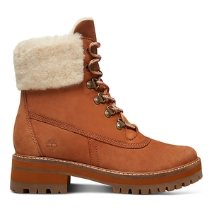 Image of Timberland Courmayeur Valley 6 Inch Boot With Authentic Shearling Lining (Women's) - Rust (Saddle) Nubuck