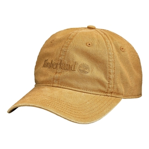 Image of Timberland Flat Logo Cotton Canvas Cap - Wheat