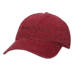 Image of Timberland Flat Logo Cotton Canvas Cap - Pomegranate