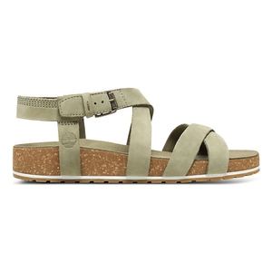 Image of Timberland Malibu Waves Ankle Strap Sandals (Women's) - Olive Nubuck