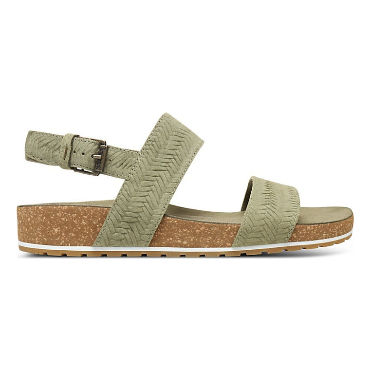 ae93d0654 Image of Timberland Malibu Waves Cross Slide Sandals (Women's) - Green  Embossed Suede ...