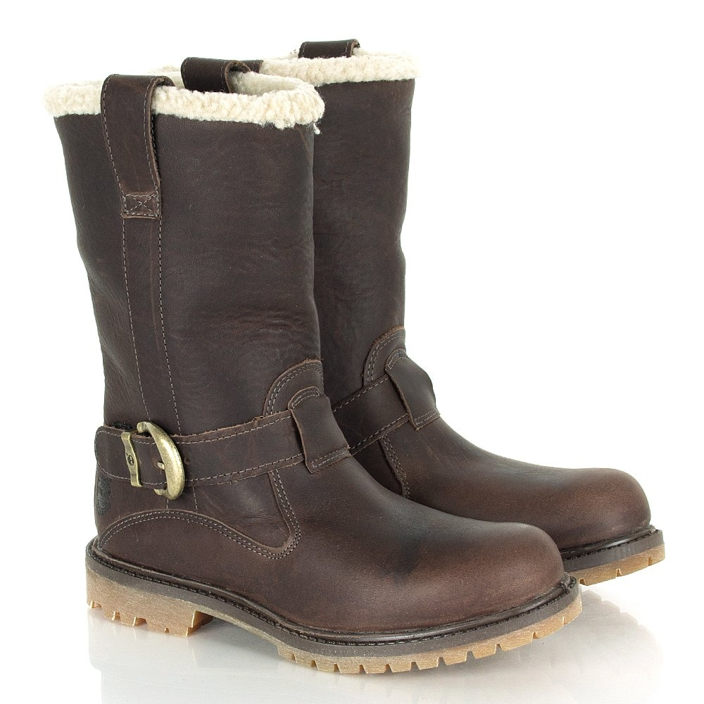 66dc39811ef5 Image of Timberland Nellie Pull On Waterproof Boots (Women s) - Dark Brown  Forty Leather