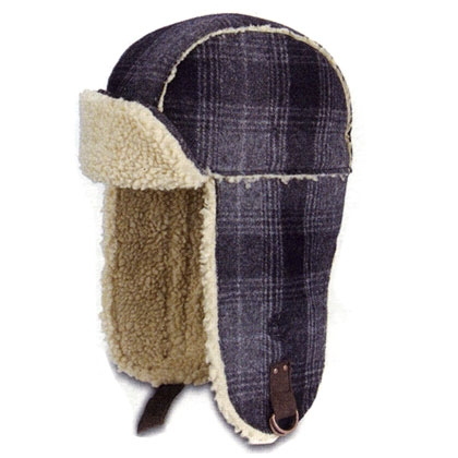 80cd603f36c Image of Timberland Plaid Wool Trapper Hat - Navy