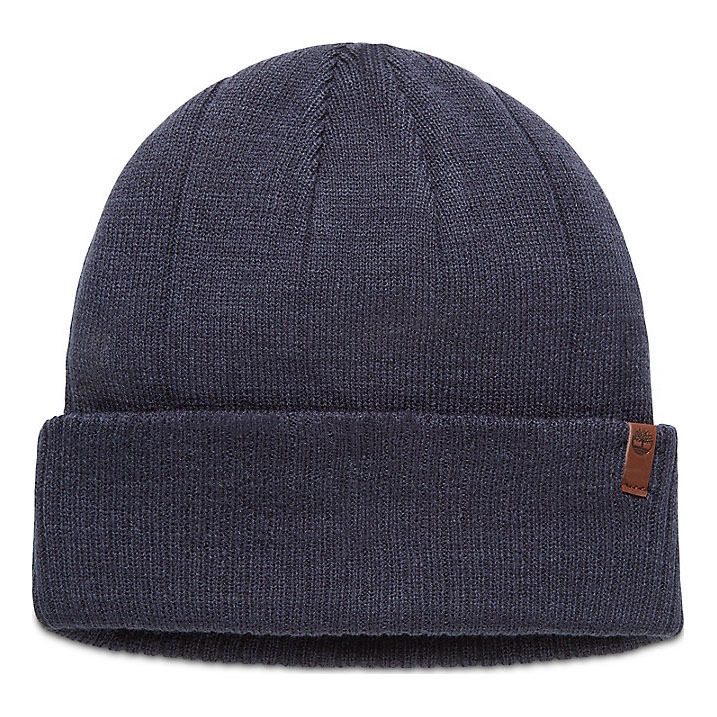 c53d7746 Image of Timberland Ribbed Cuff Beanie With Leather Patch Logo (Men's) -  Dress Blue ...