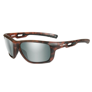 Image of Wiley X Aspect Polarized Sunglasses - Platinum Flash Smoke Green Lenses/Matte Demi Frame
