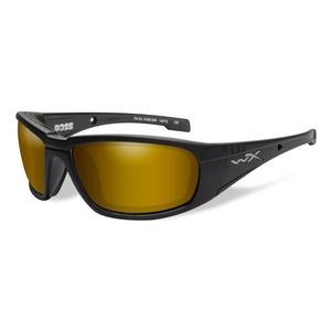 Image of Wiley X Boss Gold Mirror Polarized Sunglasses - Amber Lenses/Matte Black Frame