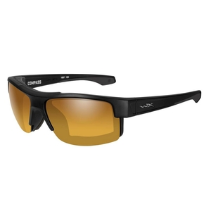 Image of Wiley X Compass Polarized Sunglasses - Gold Mirror Amber Lenses/Matte Black Frame