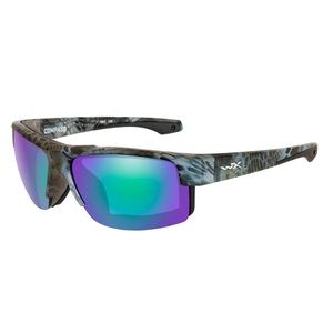 Image of Wiley X Compass Polarized Sunglasses - Emerald Mirror Amber Lenses /Kyyptek Neptune Frame