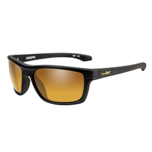 Image of Wiley X Kingpin Polarized Sunglasses - Gold Mirror Amber Lenses/Matte Black Frame