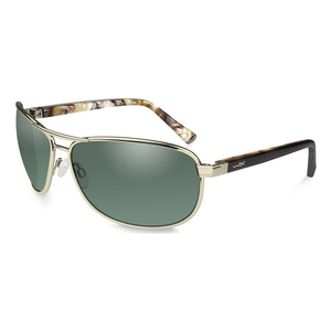 Image of Wiley X Klein Polarized Sunglasses - Smoke Green Lenses/Gold Frame