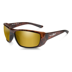 Image of Wiley X Kobe Gold Mirror Polarized Sunglasses - Gold Mirror - Amber/Gloss Hickory Brown Frame