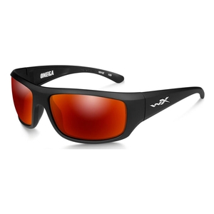 Image of Wiley X Omega Crimson Mirror Polarized Sunglasses - Smoke Grey Lenses / Matte Black Frame