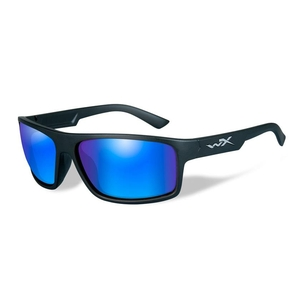 Image of Wiley X Peak Polarized Sunglasses - Polarized Blue Mirror (Green) Lens/Matte Black