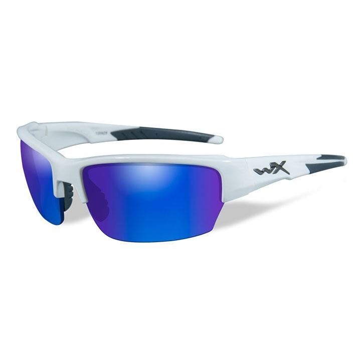 ea572ca9cb84b Image of Wiley X Saint Blue Mirror Polarized Sunglasses - Green Lenses Gloss  White Frame