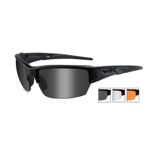 Image of Wiley X Saint Interchangeable Sunglasses - Matte Black / Smoke Grey, Clear, Light Rust