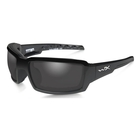 Image of Wiley X Titan Polarized Sunglasses - Smoke Grey Lenses/ Gloss Black Frame