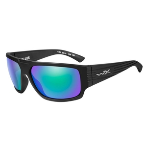 Image of Wiley X Vallus Polarized Sunglasses - Polarized Emerald Mirror Amber Lenses/Matte Black Frame
