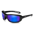 Image of Wiley X Wave Polarized Sunglasses - Polarized Blue Mirror Green Lenses/Gloss Black Frame