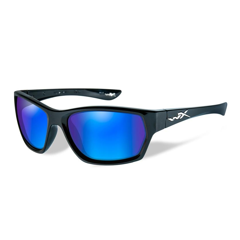 4628fbb753432 Image of Wiley X Moxy Polarized Sunglasses - Gloss Black Frame Blue Mirror  (Green