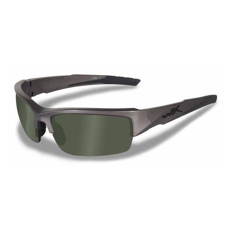 b205c6dfd0 Image of Wiley X WX Valor Sunglasses - Polarized Smoke Green   Metallic  Silver