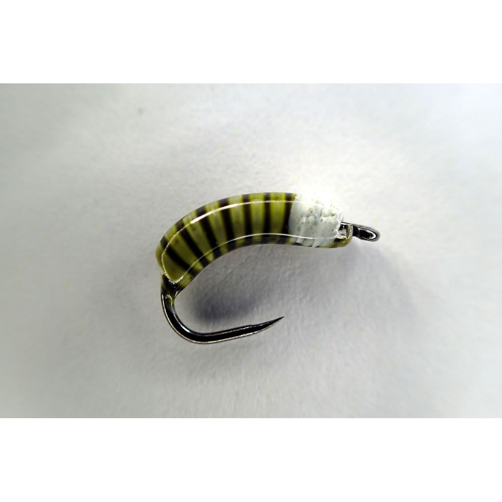 OLIVE COPPERHEAD BARBLESS NYMPH GRAYLING /& TROUT size 14