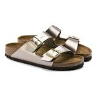 Image of Birkenstock Arizona Birko-Flor Synthetic Leather Sandals (Women's) - Electric Metallic Taupe