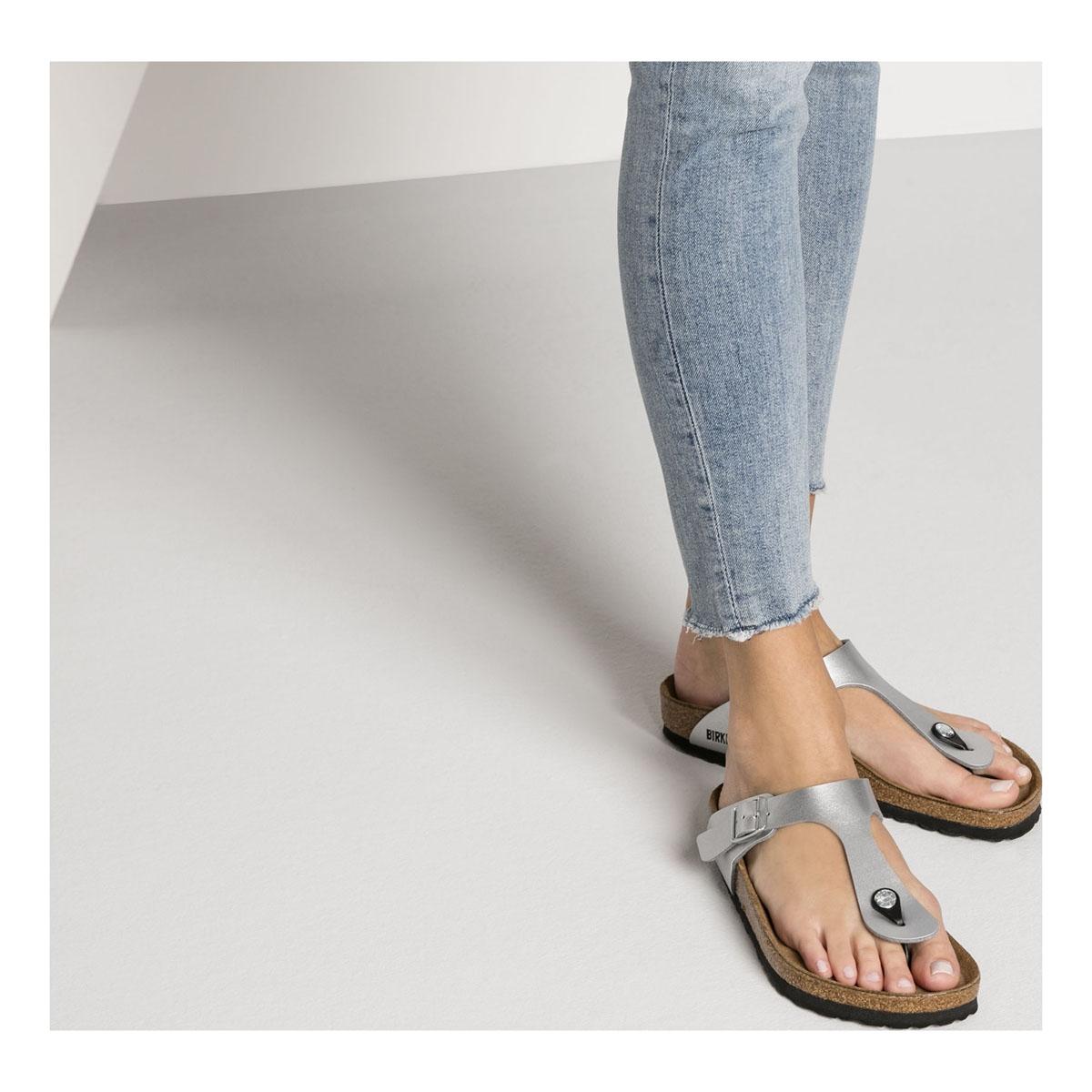 144fd7c7422 ... Image of Birkenstock Gizeh Birko-Flor Synthetic Leather Sandals  (Women s) - Silver
