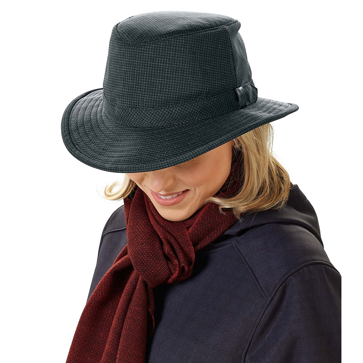 67581229 ... Image of Tilley Medium Curved Brim Tec Cork Winter Hat - Black / Grey  ...
