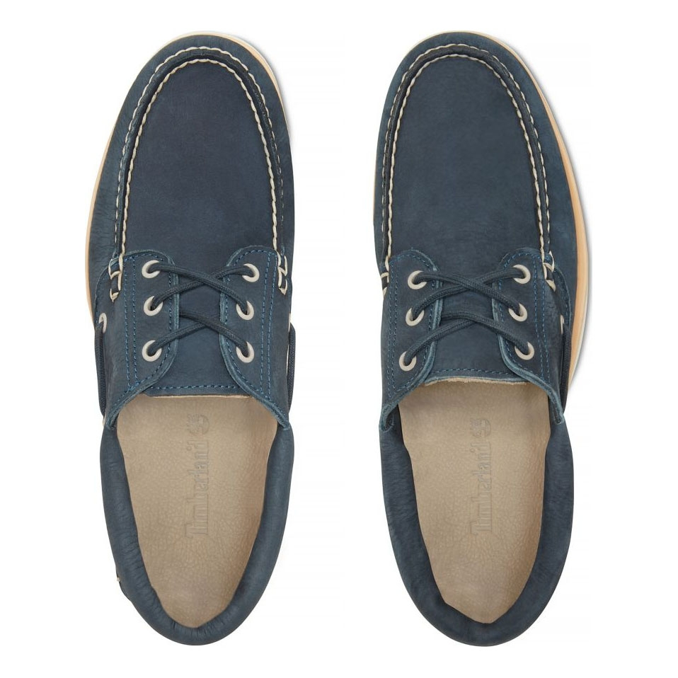 31eb42209bea5 ... Image of Timberland Chilmark 3 Eye Handsewn Deck Shoes (Men s) - Midnight  Navy Barefoot ...