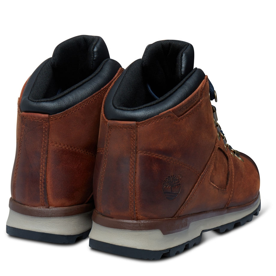 Timberland GT Scramble Mid Leather Walking Boots (Men's) Premium Brown Navy