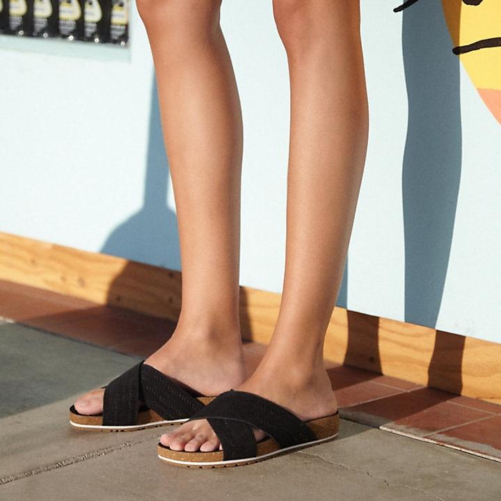 El cuarto Creo que revista  Timberland Malibu Waves Cross Slide Sandals (Women's) - Black Embossed  Suede | Uttings.co.uk