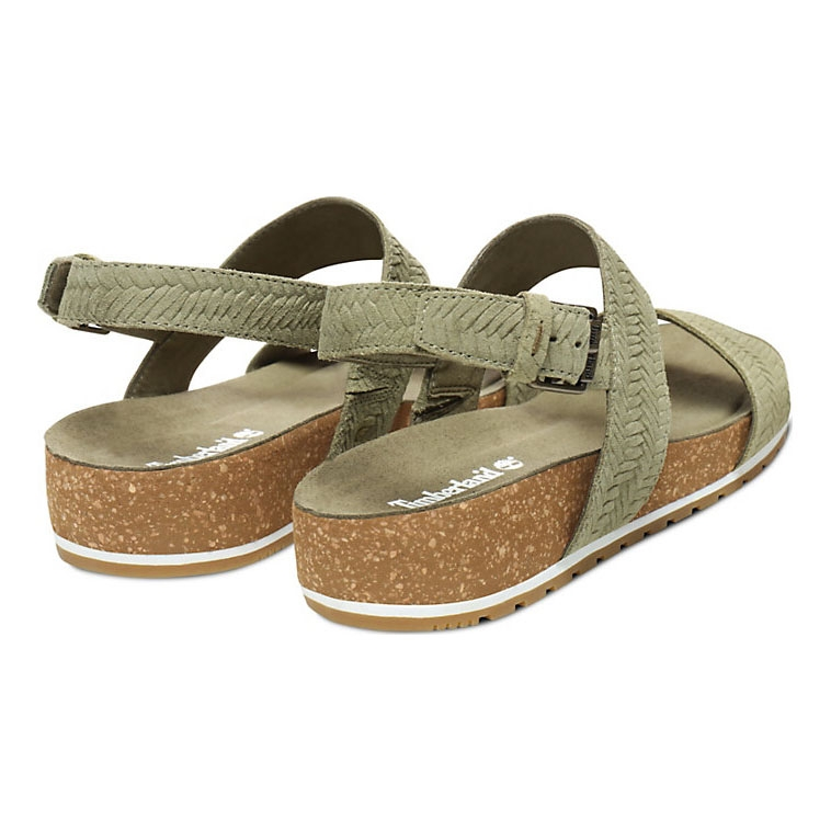 f36fe5324 ... Image of Timberland Malibu Waves Cross Slide Sandals (Women's) - Green  Embossed Suede ...
