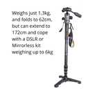 Image of Vanguard VEO 2S CM-264TBP Carbon Monopod with Tri-Feet And VEO 2 BP-120 Ball/Pan Head
