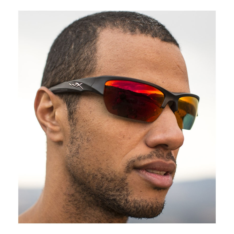... Image of Wiley X Valor Crimson Mirror Polarized Sunglasses - Smoke Grey  Lenses Black 2 ... f338ccc957